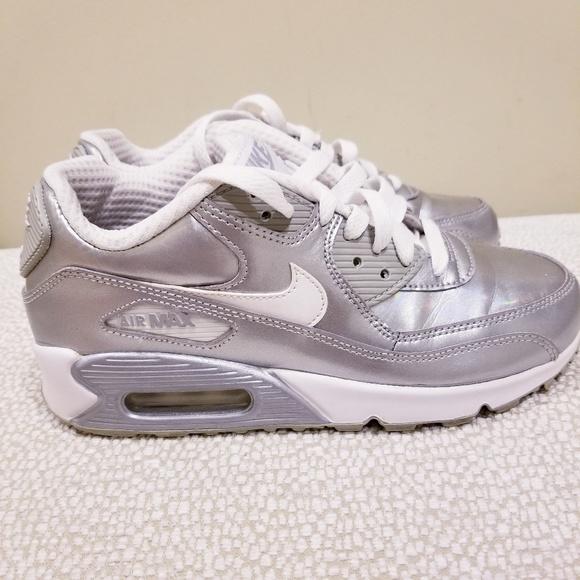Nike Air Max 90 Silver leather Big Kid4women 6
